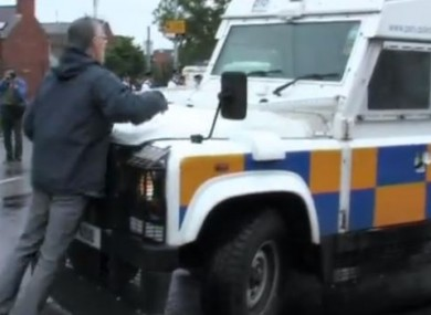 Gerry Kelly and the PSNI vehicle