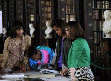 Michelle Obama with her daughters Sasha and Malia in Trinity College Dublin earlier this week