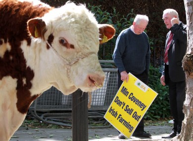 Farmers protest outside the Department of Agriculture earlier this week over the new CAP reforms