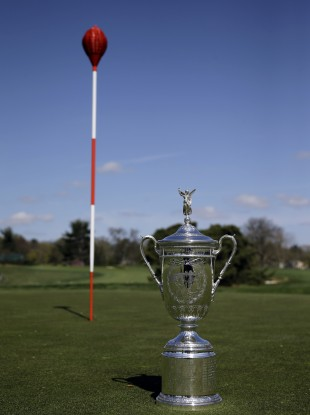The famous wicker and the US Open trophy, won last year by Webb Simpson.