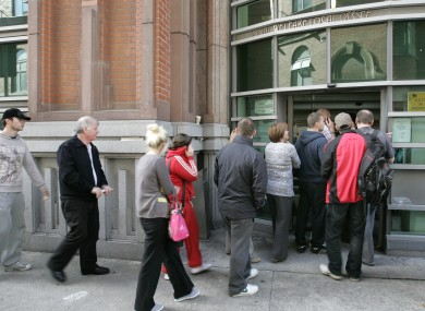 Social Welfare queue at local office in Bishop Square in Dublin.
