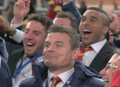 Brian O'Driscoll reacts as the Lions score another try.