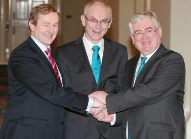Enda Kenny and Eamon Gilmore with European Council president Herman van