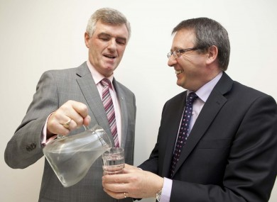 John Tierney of Irish Water and Michael McNicholas of Bord Gais at the jobs announcement today