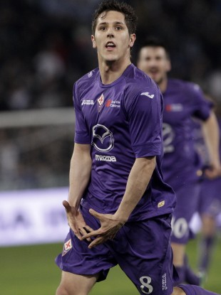 Jovetic brings out a risqué version of the Gareth Bale celebration after scoring against Lazio.