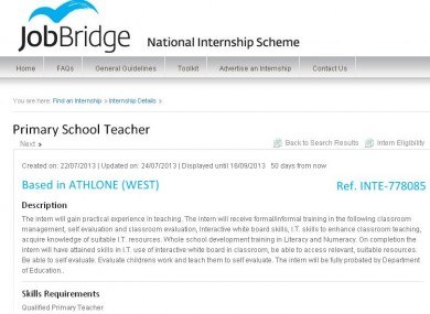 The JobBridge ad in question