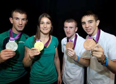 Nevin, Taylor, Barnes and Conlan with their Olympic medals (file photo).