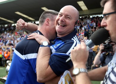 Mon the lads: A delighted Malachy O'Rourke celebrates after yesterday's Ulster SFC final.