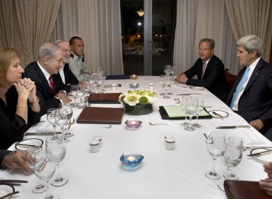 US Secretary of State John Kerry holding meetings with Israel's Prime Minister Benjamin Netanyahu and his officials last month