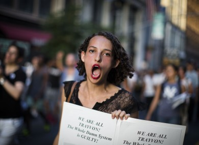 A demonstrator chants during a march in New York yesterday.