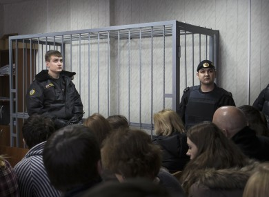 The empty cage in the Moscow courtroom during Magnitsky's trial