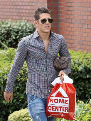 Making himself at home: Jovetic after his medical in Manchester.
