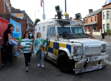 Security before the first leg of the UEFA Champions League qualifying tie in Belfast.