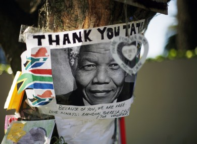 Get well soon messages and drawings are seen outside Nelson Mandela's house in Johannesburg