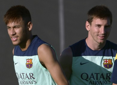 Neymar and Lionel Messi during training.