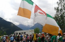 Tyrone flag flies proudly at Irish Corner on gruelling Tour de France climb