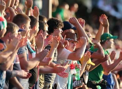 Zalgiris fans celebrate in Inchicore.