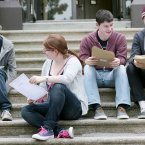 Hugh O'Rourke, Amy Bennett, John Nolan and Jake Regan take a look at their Leaving Cert results at Stratford College in Rathgar today. Photo: Laura Hutton/Photocall Ireland