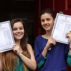 Daisy Maguire (19) from Rathgar and Grainne Lowney (18) from Terenure hold up thier results. Photo: Sam Boal/Photocall Ireland