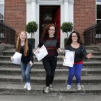 Fiona O'Connor, Meadhbh Larkin and Aimee Carroll celebrate their results. Photo: Sam Boal/Photocall Ireland