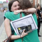 Daisy Maguire (19) from Rathgar hugs her mother Sarah after receiving her result this morning at her school Loretto College in Dublin. Photo: Sam Boal/Photocall Ireland