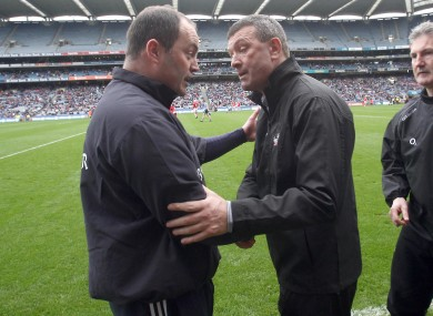 Dublin's Anthony Daly and Cork's Jimmy Barry Murphy.