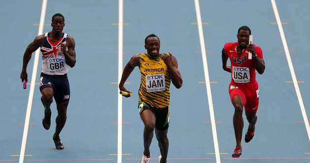 Usain Bolt equals world golds record with relay win