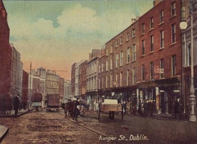 A postcard of Aungier Street from the 1920s