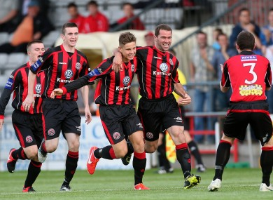 Bohs' Dave Mulcahy celebrates scoring the first goal of the game.