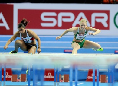 Yanit, left, beat O'Rourke and Nooralotta Neziri in the European Indoor 60m final in March.