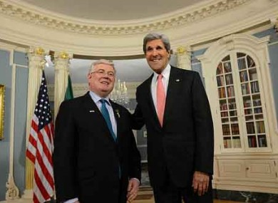 Eamon Gilmore with US Secretary of State John Kerry earlier this year.