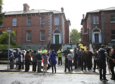 Friends of the Halawa family gather at the Egyptian Embassy in Dublin demanding the release of four Irish siblings