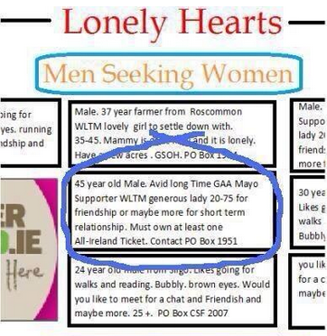 Lonely hearts dating ads
