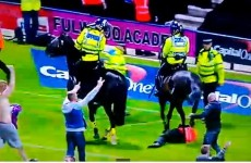VIDEO: Police horse tramples on steward as pitch invasion mars Preston-Blackpool match