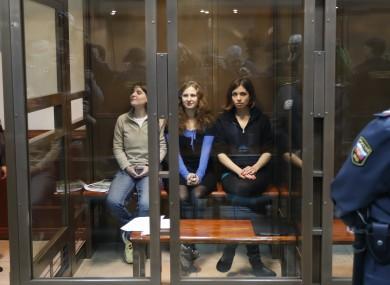October 2012 file photo of Yekaterina Samutsevich, Maria Alekhina, and Nadezhda Tolokonnikova of Pussy Riot