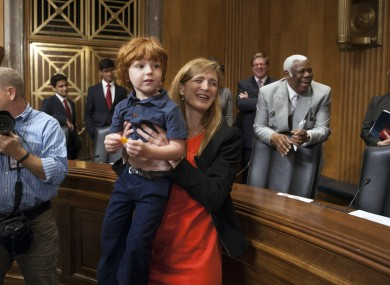 Samantha Power with her son Declan at her confirmation hearing in Washington