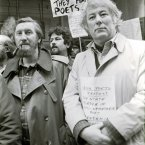 Keenly socially concious, Heaney is seen here with Dunnes Stores workers at a anti apartheid demonstration in 1985<span class=