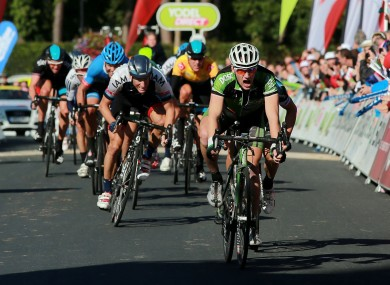 Sam Bennett leads the field during stage five of the 2013 Tour of Britain.
