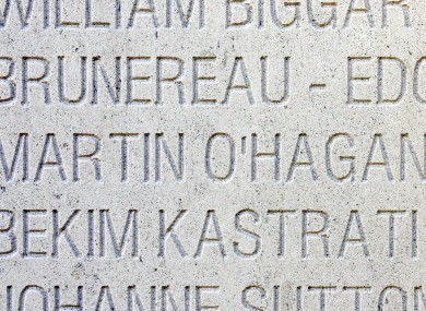 Martin O'Hagan's name on the Journalists' Memorial of Bayeux in France, which pays tribute to 2,000 reporters killed worldwide.