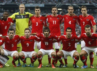 Austria pose prior to their FIFA World Cup 2014 qualification group C match with Germany.