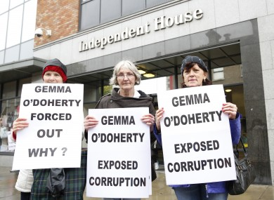 Pictured are Eileen O'Brien, Lucia O'Farrell and Catherine Costello supporters of Gemma O'Doherty protesting outside the newspaper's offices.