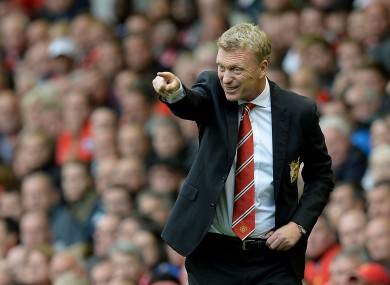 Manchester United manager David Moyes on the touchline during today's game.
