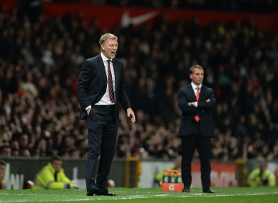David Moyes shouts instructions from the touchline.