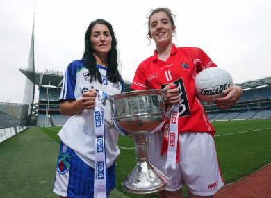 Senior finalist captains Monaghan's Therese McNally and Ciara O'Sullivan of Cork.