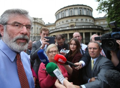 Gerry Adams at Leinster House on Wednesday where he asked for privacy for his family following his brother's conviction.