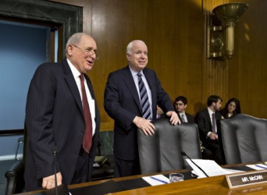 Carl Levin and John McCain at a Senate Investigations Subcommittee meeting in May