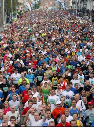 Some of the 12,750 people who took part in the 2009 Dublin City Marathon.