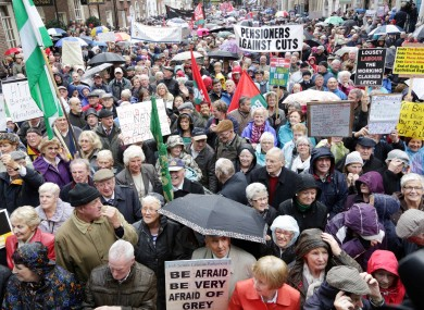 Thousands of protesters gathered outside the Dáil this week in opposition to the cuts in Budget 2014.