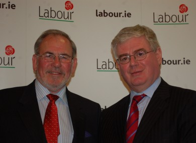 Paddy Bourke (left) with party leader Eamon Gilmore in happier times