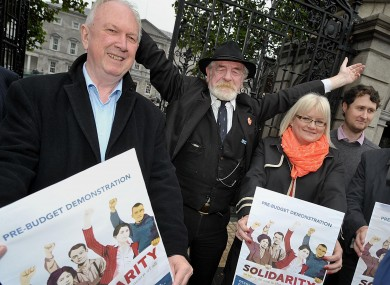 Unite's Jimmy Kelly, actor Ger O'Leary (aka Jim Larkin) and Mandate member Sandra Stapleton at the event's launch